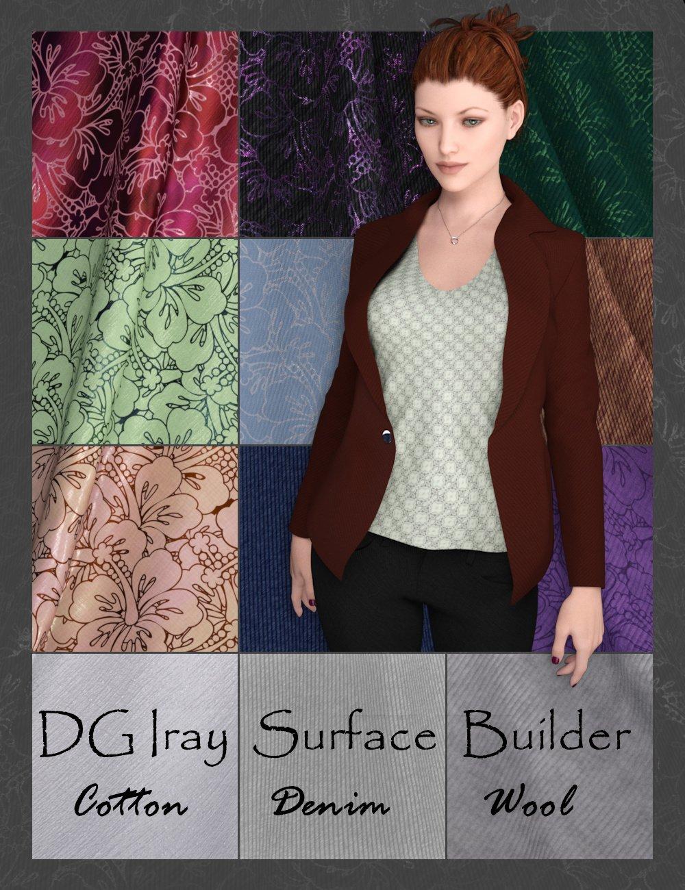 DG Iray Surface Builder - Cotton Denim Wool - Shaders and Merchant Resource by: IDG DesignsDestinysGarden, 3D Models by Daz 3D