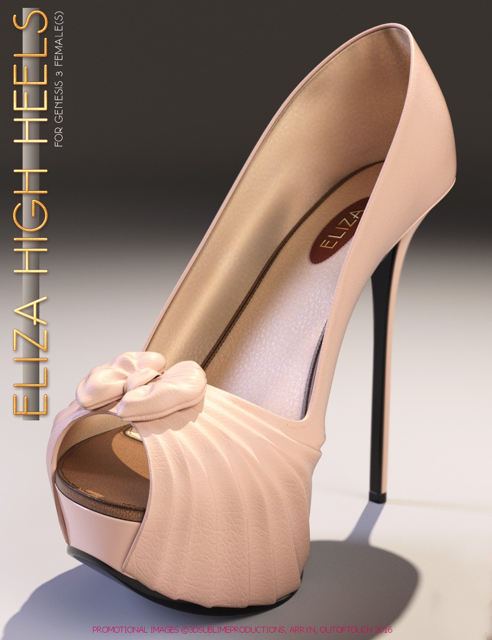 Eliza High Heels for Genesis 3 Female(s) by: 3DSublimeProductionsArrynoutoftouch, 3D Models by Daz 3D