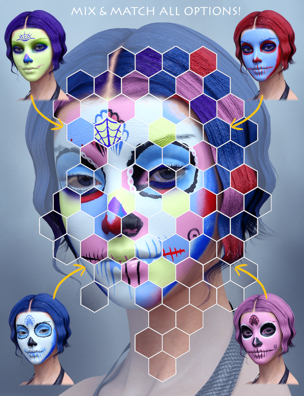 Sugar Skull Make-up for Genesis 3 Female by: ForbiddenWhispers, 3D Models by Daz 3D