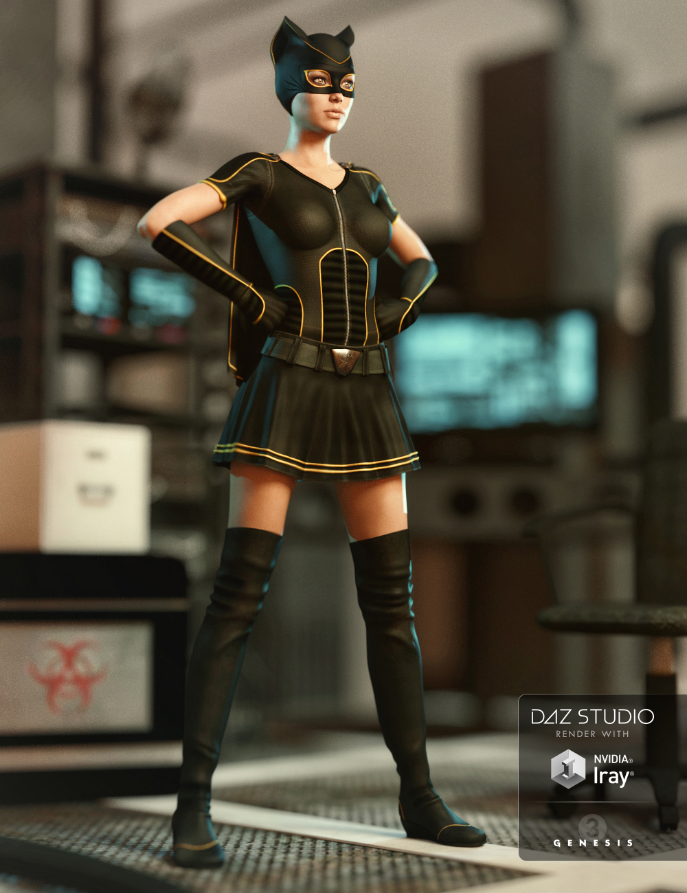 Superhero Add-On for Super Bodysuit Genesis 3 Female(s) by: ArienMada, 3D Models by Daz 3D