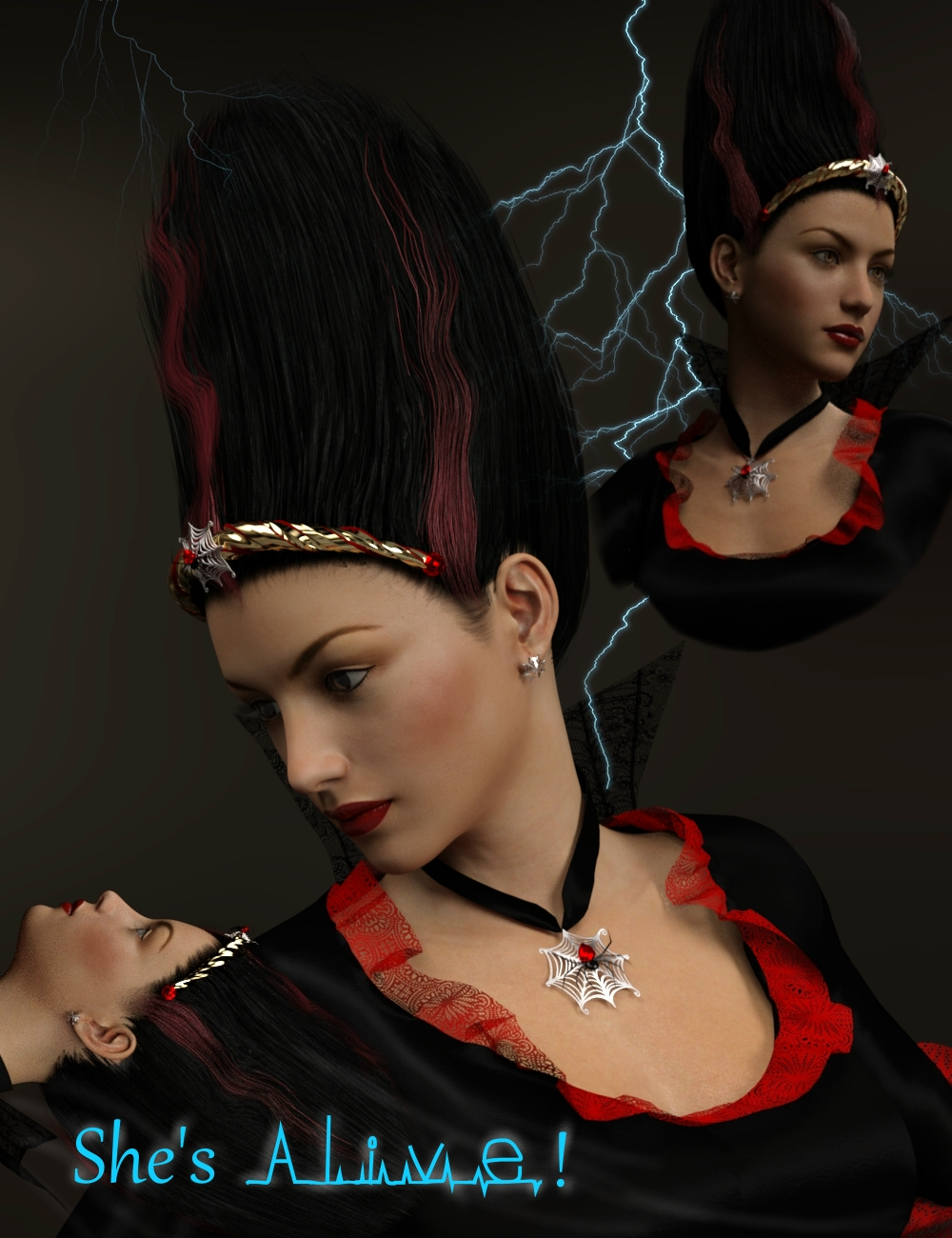 MadBride Jewelry and Hair for Genesis 3 Female(s) by: Neftis3D, 3D Models by Daz 3D