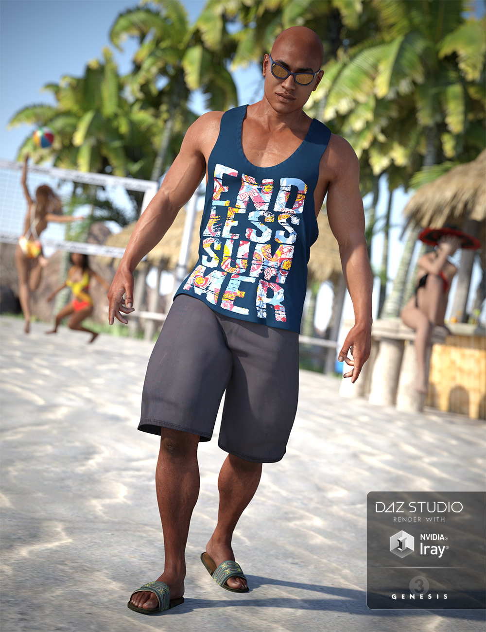 Beach Vibes Outfit for Genesis 3 Male(s) by: NikisatezShox-Design, 3D Models by Daz 3D