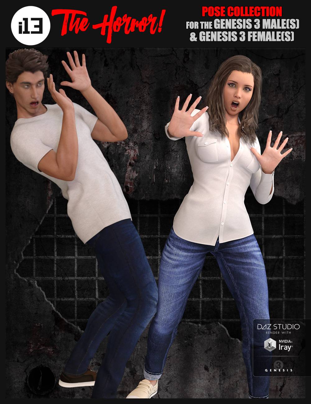 i13 The Horror! Pose Collection for the Genesis 3 Male(s) and Genesis 3 Female(s) by: ironman13, 3D Models by Daz 3D
