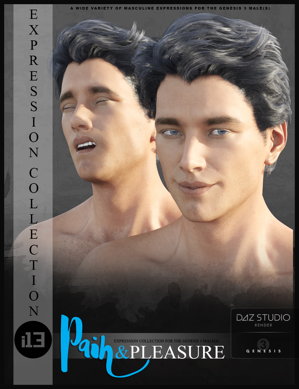 i13 Pain and Pleasure Expressions for the Genesis 3 Male(s) by: ironman13, 3D Models by Daz 3D