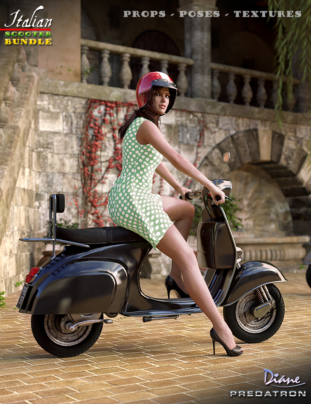 Italian Scooter Bundle by: PredatronDiane, 3D Models by Daz 3D