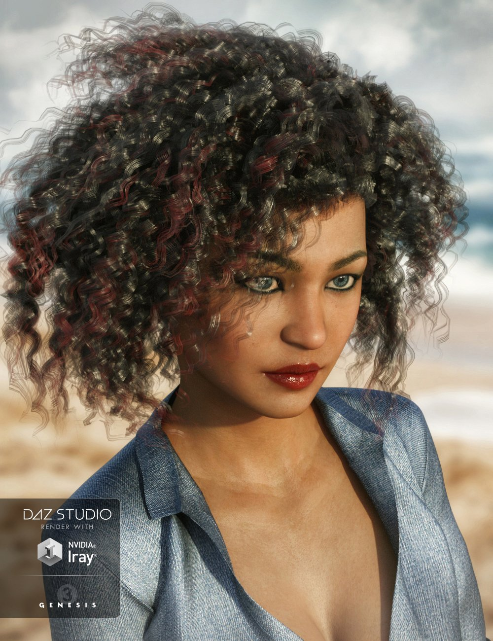 Lani Hair for Genesis 3 Female(s) by: 3DCelebrity, 3D Models by Daz 3D