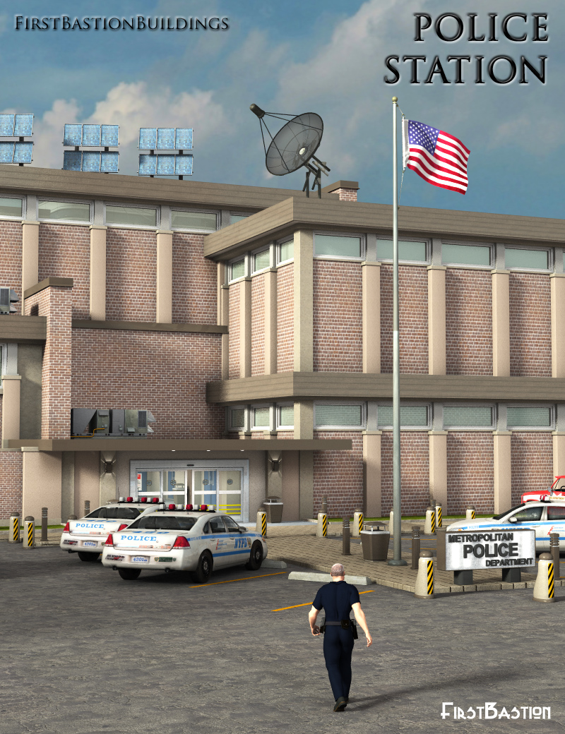 1stBastion Buildings: Police Station by: FirstBastion, 3D Models by Daz 3D