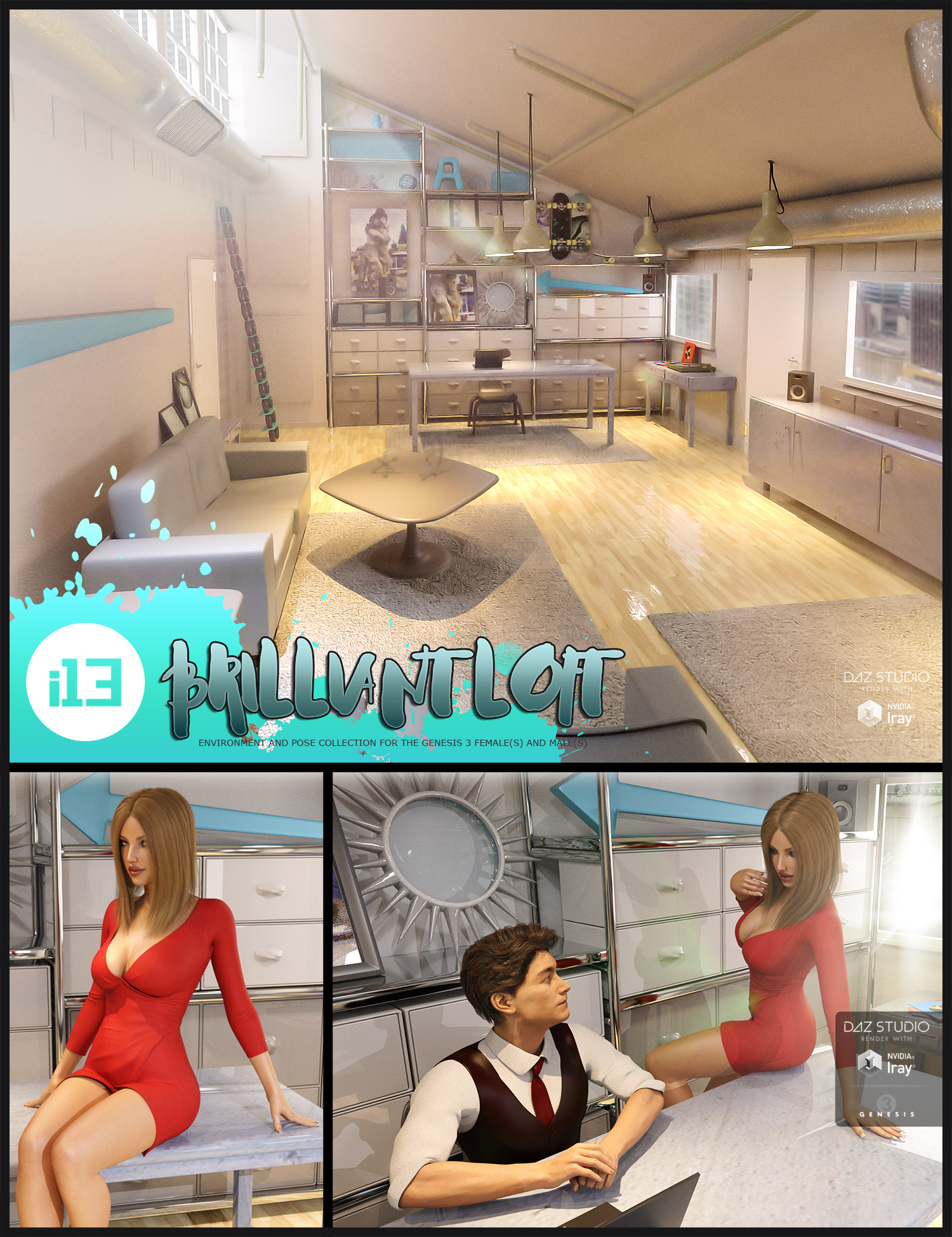 i13 Brilliant Loft Environment and Poses by: ironman13, 3D Models by Daz 3D