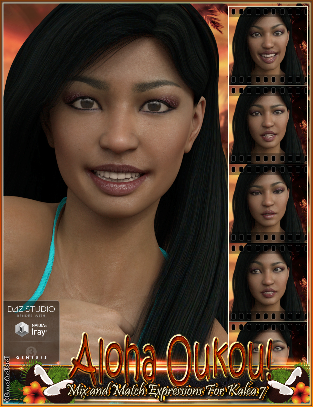 Aloha Oukou Mix and Match Expressions for Kalea 7 and Genesis 3 Female(s) by: EmmaAndJordi, 3D Models by Daz 3D