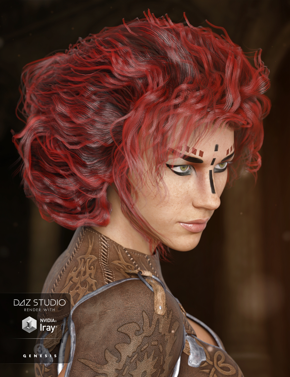 Mele Hair for Genesis 3 Female(s) by: 3DCelebrity, 3D Models by Daz 3D