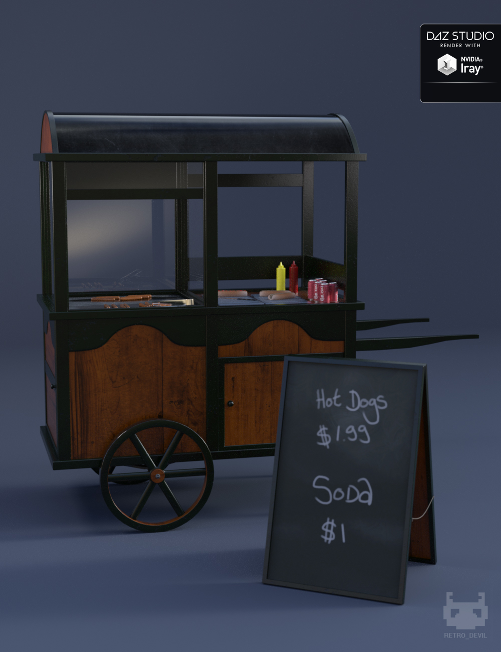 Vintage Hot Dog Cart by: Moonscape Graphics, 3D Models by Daz 3D