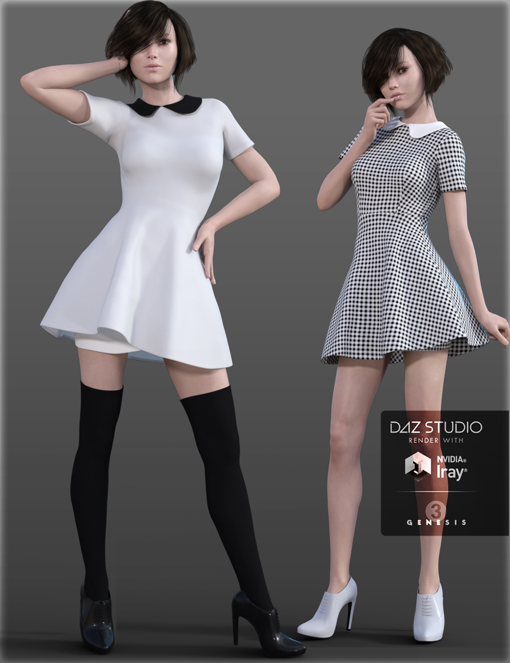 H&C Peter Pan Collar Dress for Genesis 3 Female(s) by: IH Kang, 3D Models by Daz 3D