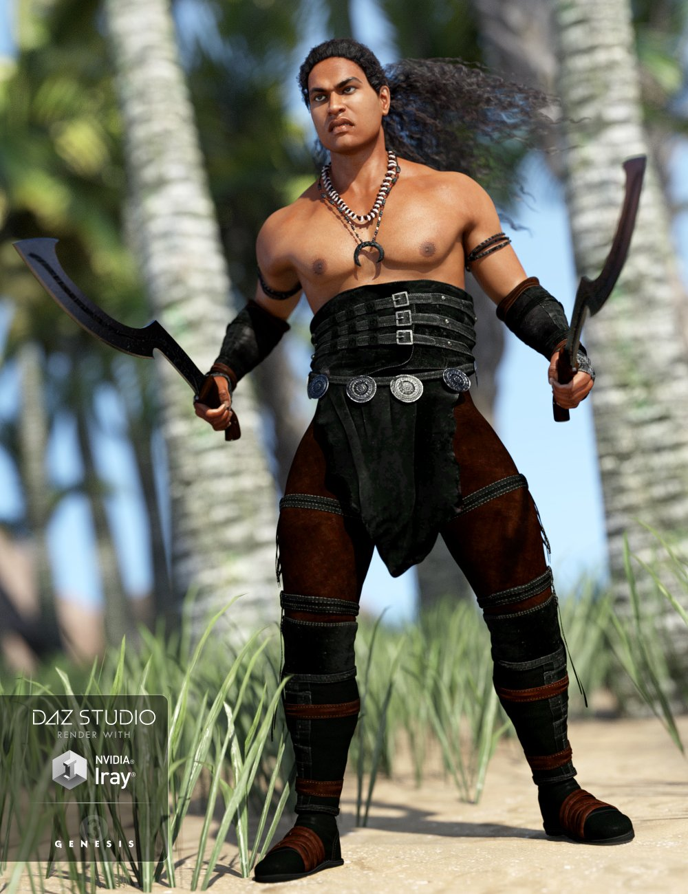 Island Warrior Outfit for Genesis 3 Male(s) by: Anna BenjaminBarbara Brundon, 3D Models by Daz 3D