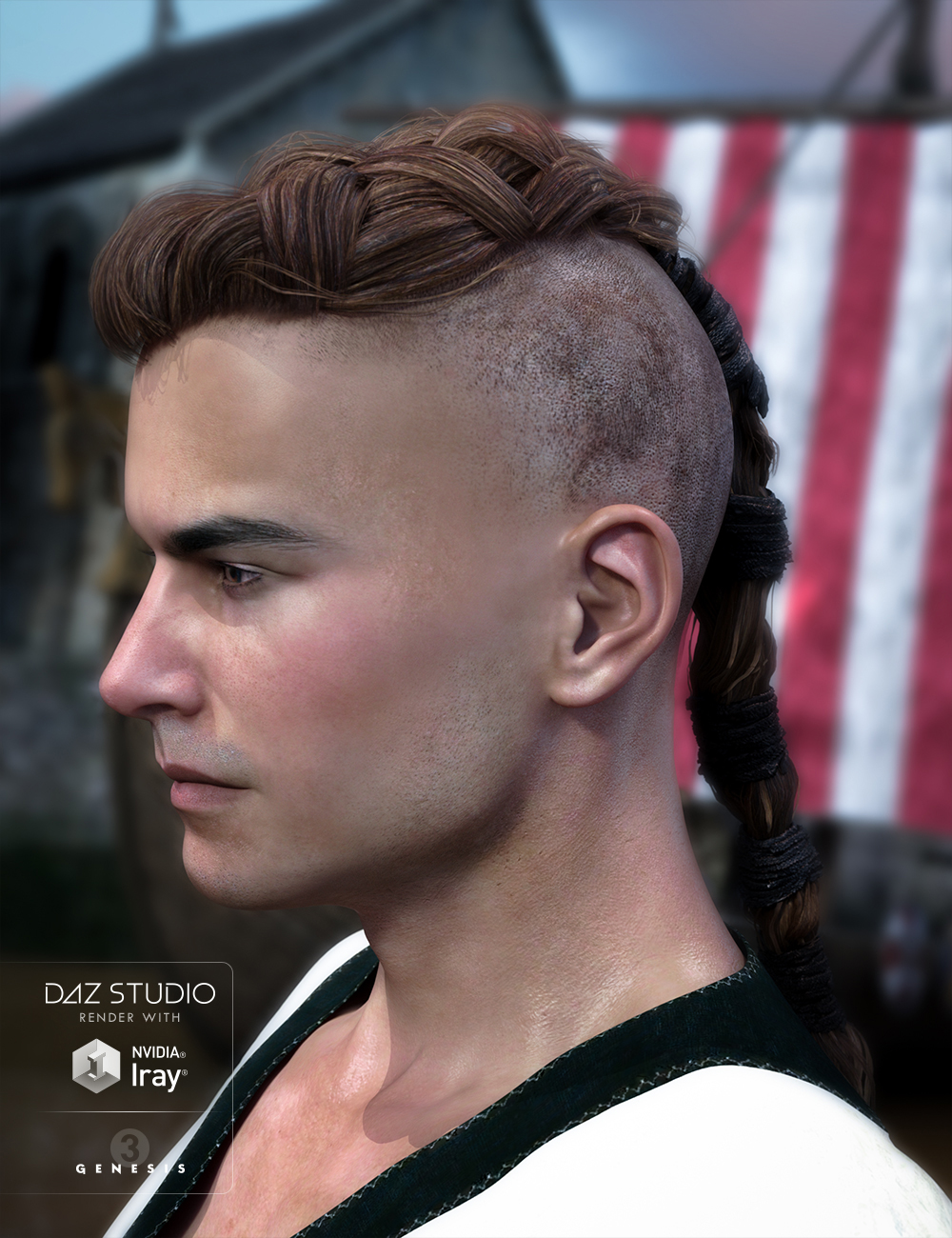 Viking Hair for Genesis 3 Male(s) by: goldtassel, 3D Models by Daz 3D