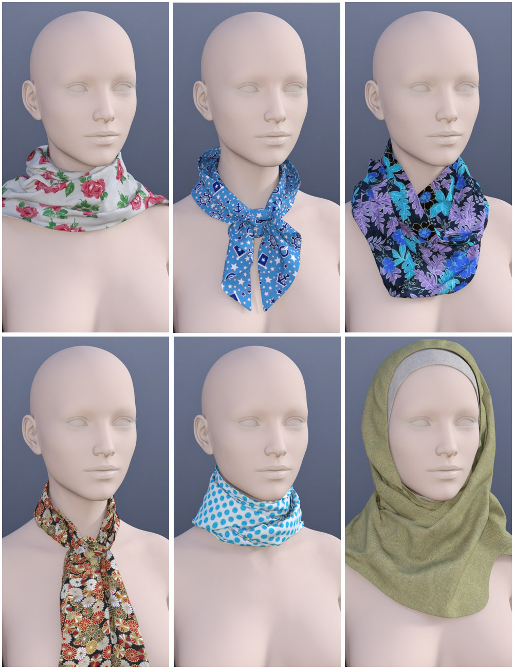 Scarves for Genesis 3 Female(s) by: Oskarsson, 3D Models by Daz 3D