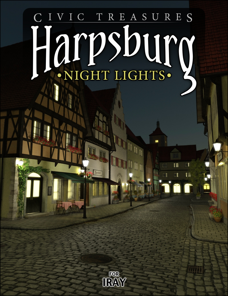 Harpsburg Night Lights for Iray by: HowieFarkes, 3D Models by Daz 3D