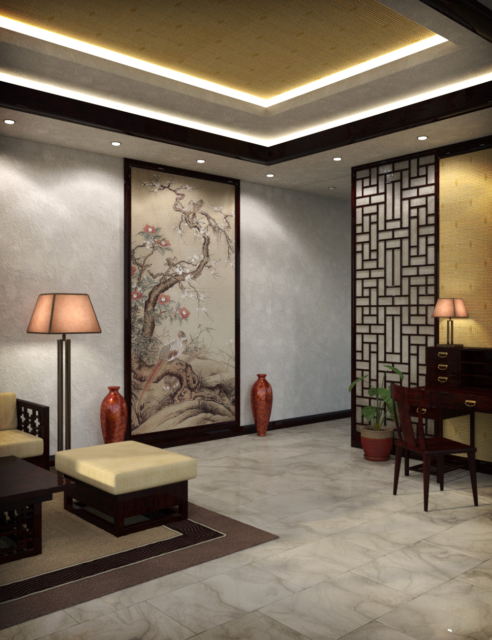 Modern Chinese Living Room by: esha, 3D Models by Daz 3D