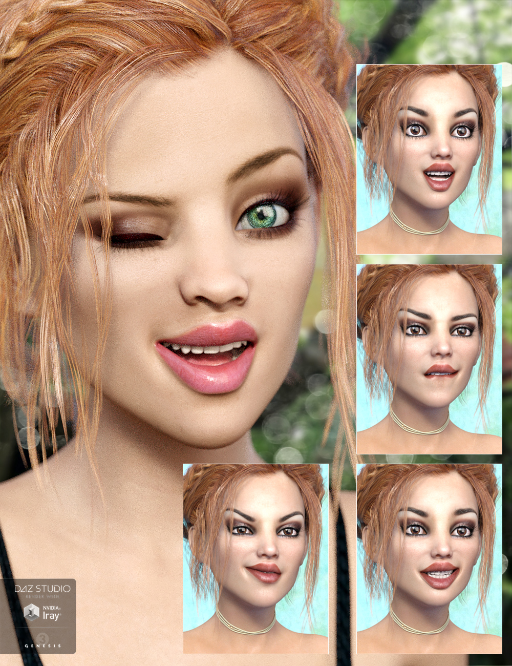 Whispers Expressions for Izabella and Genesis 3 Female(s) by: Diane, 3D Models by Daz 3D