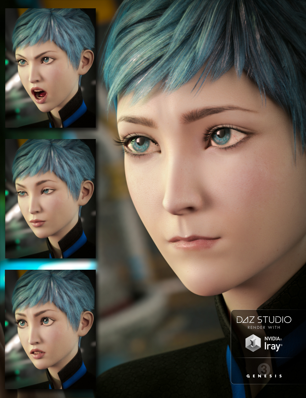 Expressions for Aiko 7 and Genesis 3 Female(s) by: Diane, 3D Models by Daz 3D