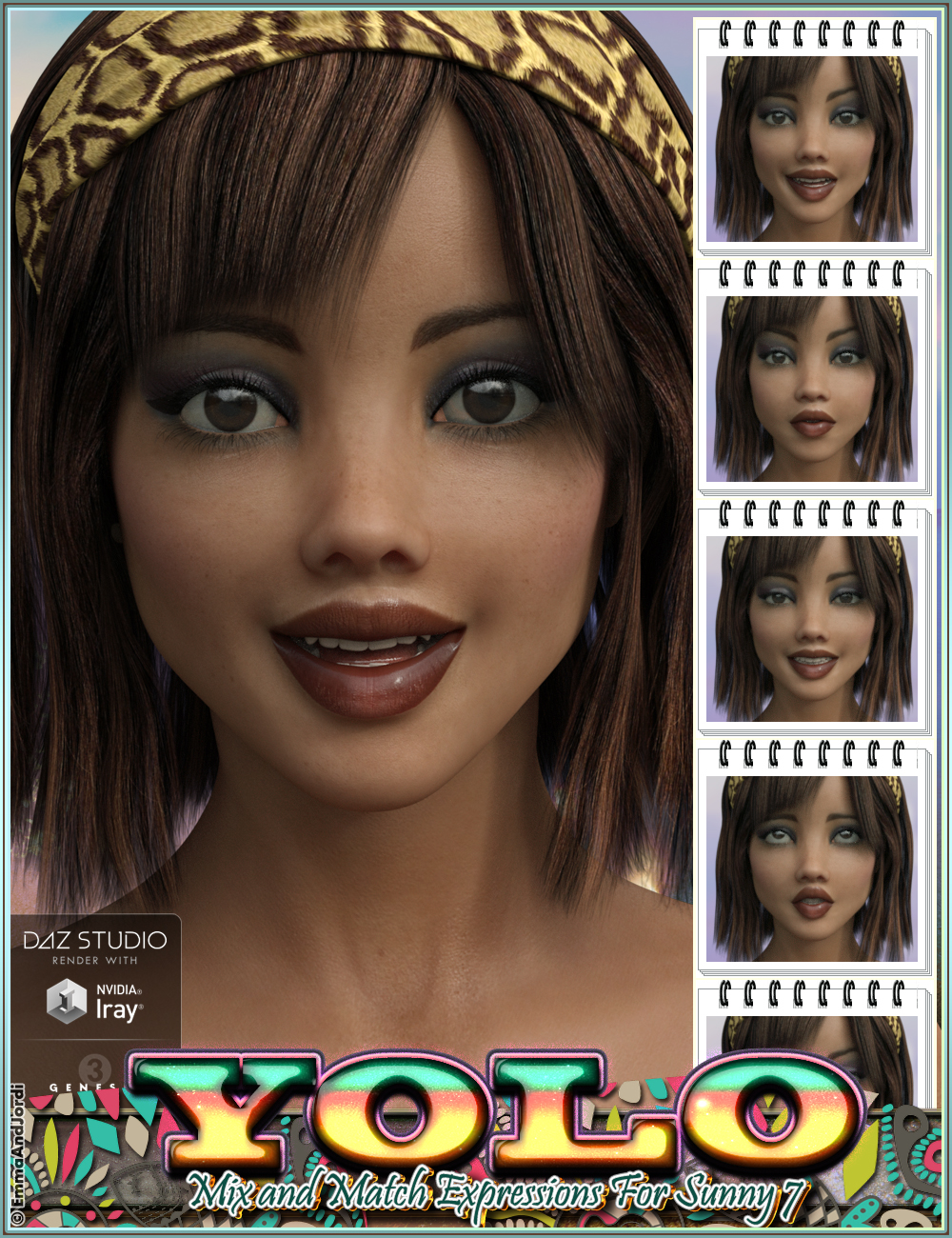 YOLO Mix and Match Expressions for Sunny 7 and Genesis 3 Female(s) by: EmmaAndJordi, 3D Models by Daz 3D