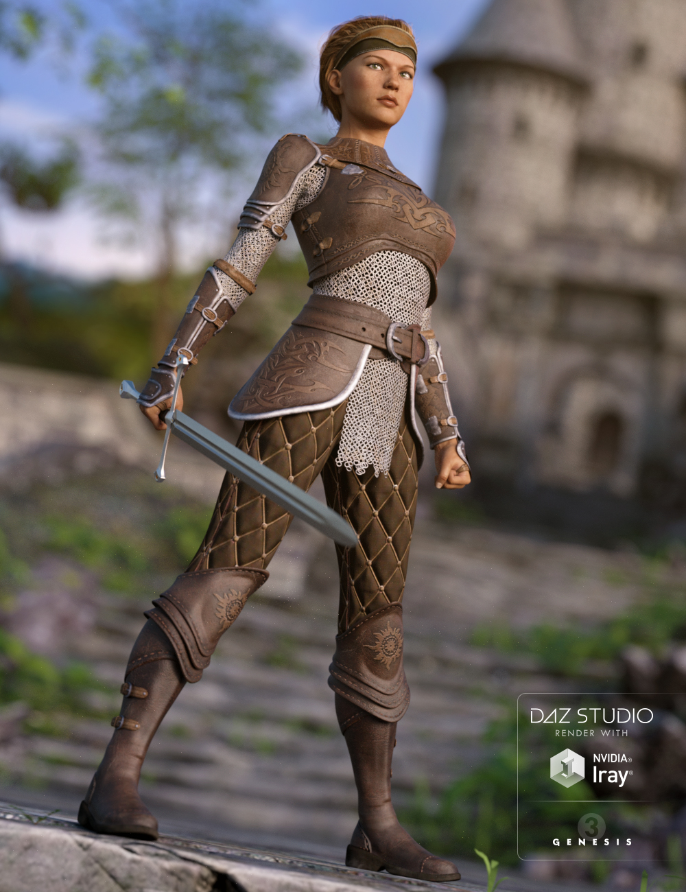 Alicia Armor Outfit for Genesis 3 Female(s) by: Kool, 3D Models by Daz 3D
