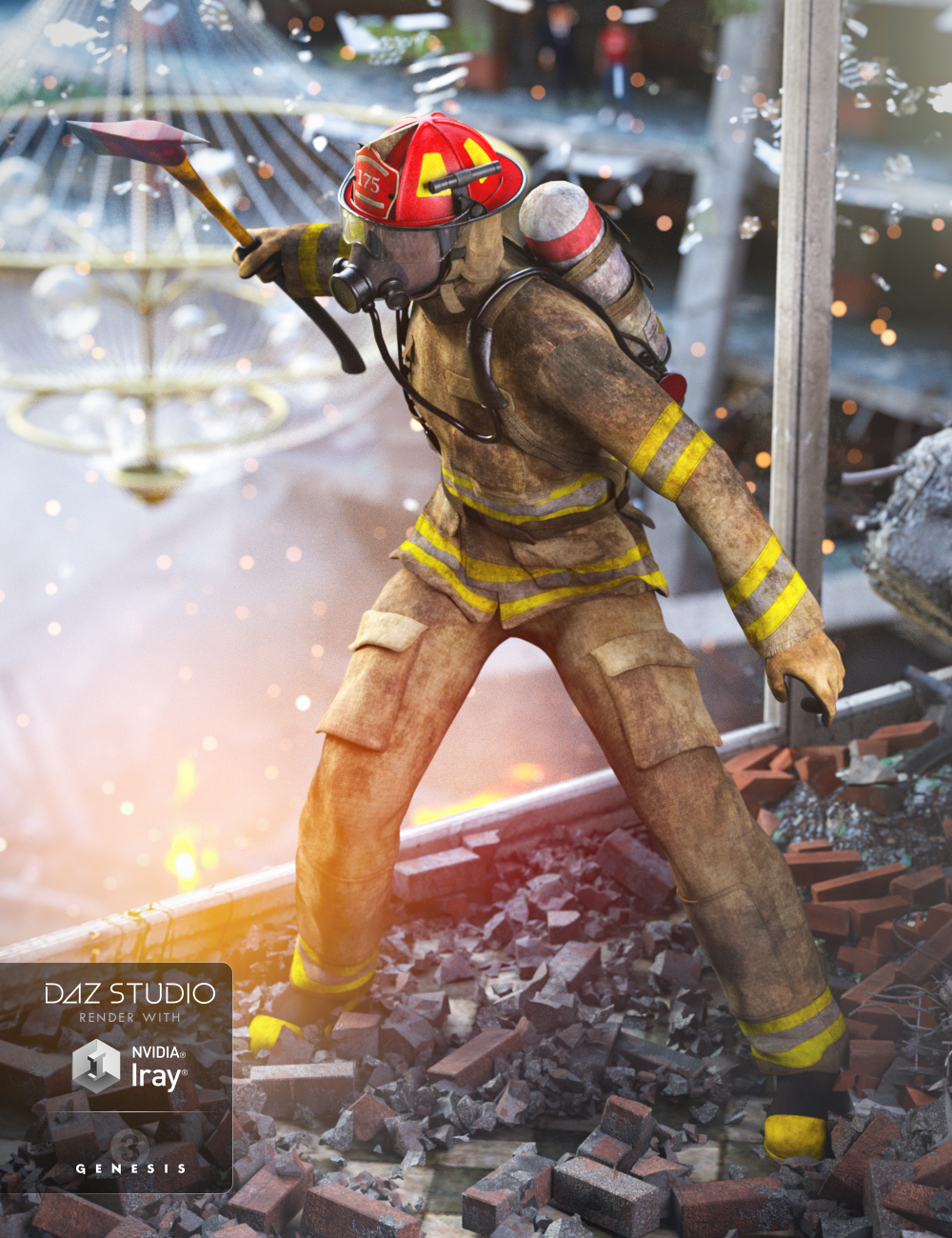 Firefighter Uniform for Genesis 3 Male(s) and Genesis 2 Male(s) by: RavenhairSarsa, 3D Models by Daz 3D
