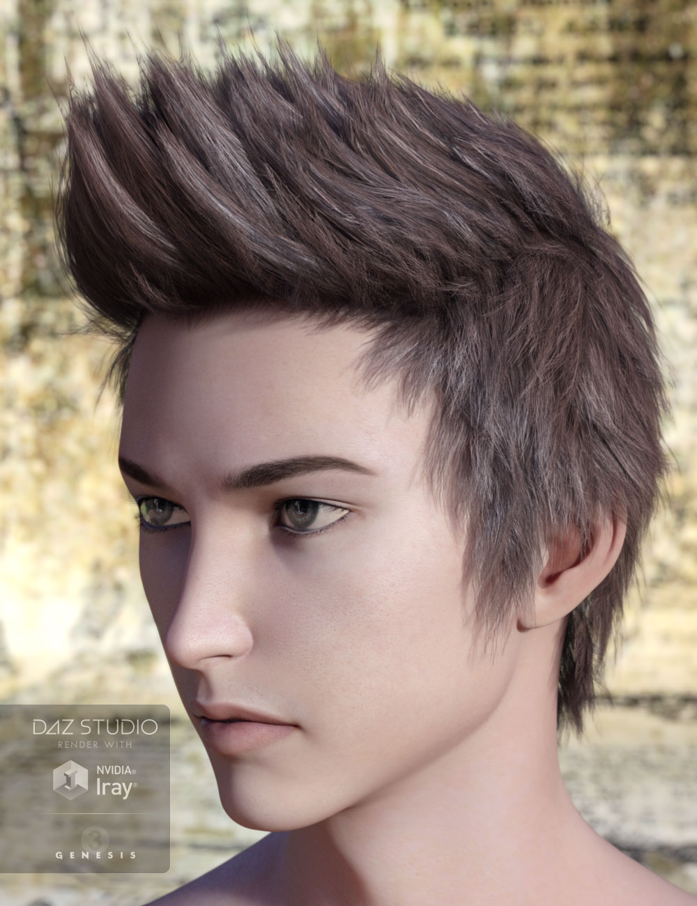 Ryo Hair for Genesis 2 & 3 Male(s) by: AprilYSH, 3D Models by Daz 3D