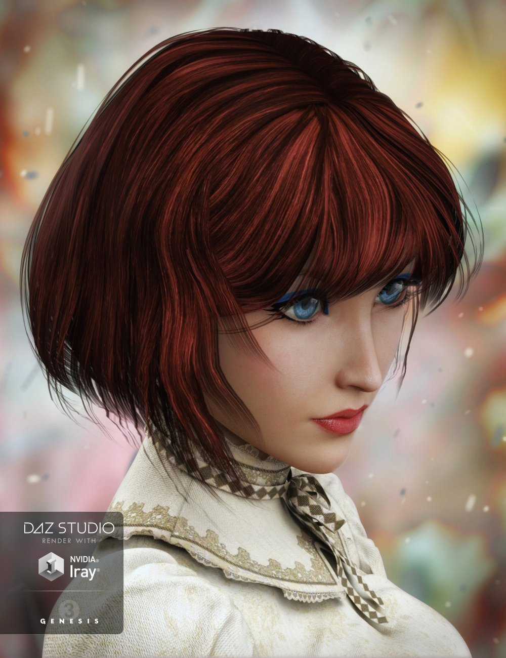 Razor-Cut Bob Hair for Genesis 3 Female(s) by: Propschick, 3D Models by Daz 3D