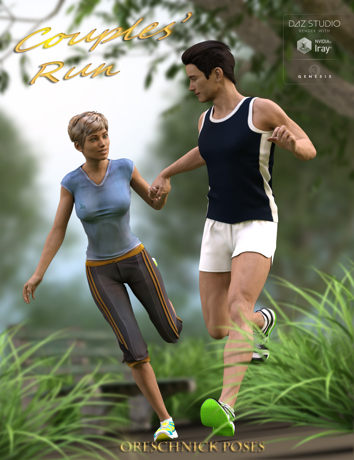 Couples' Run Poses by: Devon, 3D Models by Daz 3D