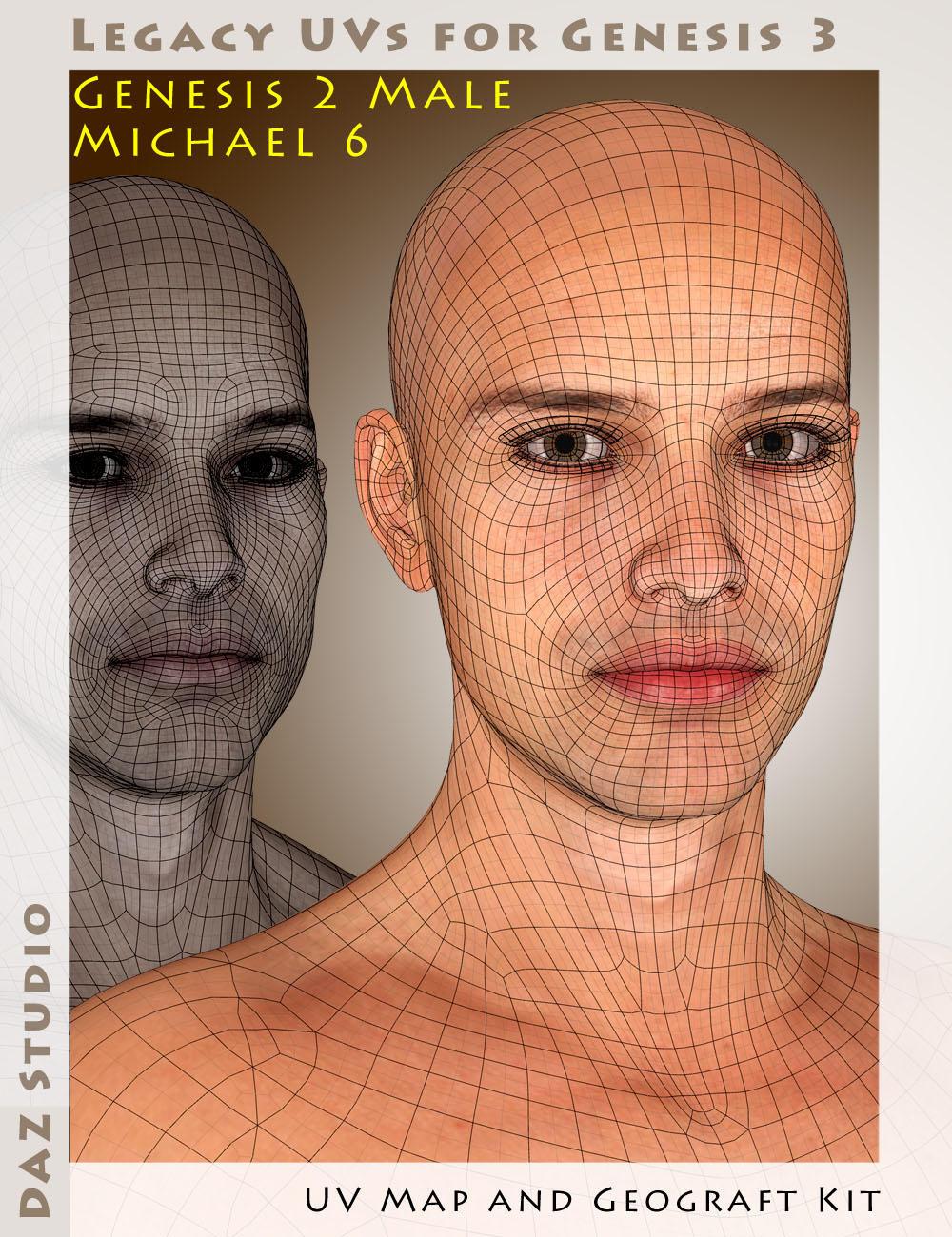 Legacy UVs for Genesis 3: Genesis 2 Male and Michael 6 by: Cayman Studios, 3D Models by Daz 3D