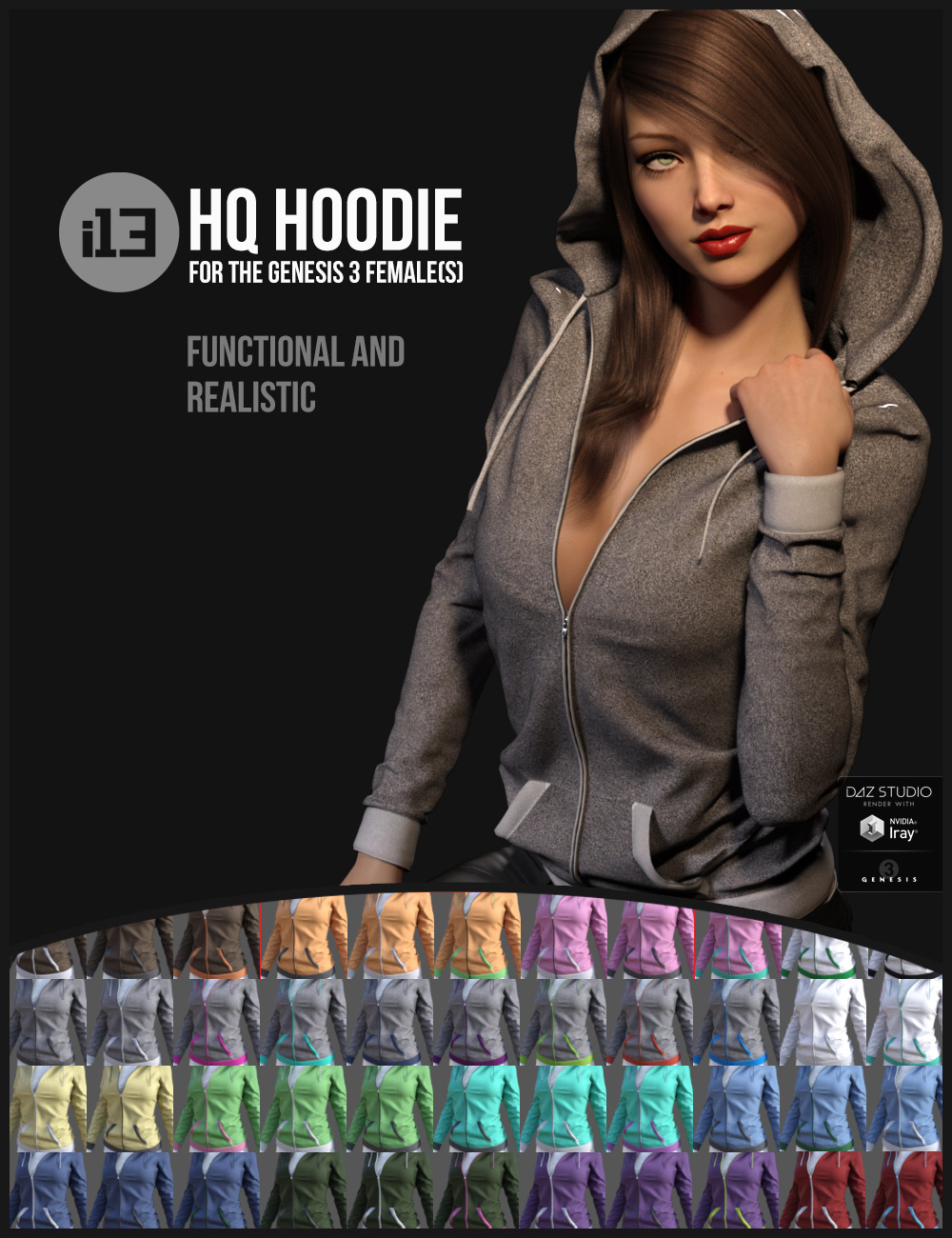 i13 HQ Hoodie for the Genesis 3 Female(s) by: ironman13, 3D Models by Daz 3D