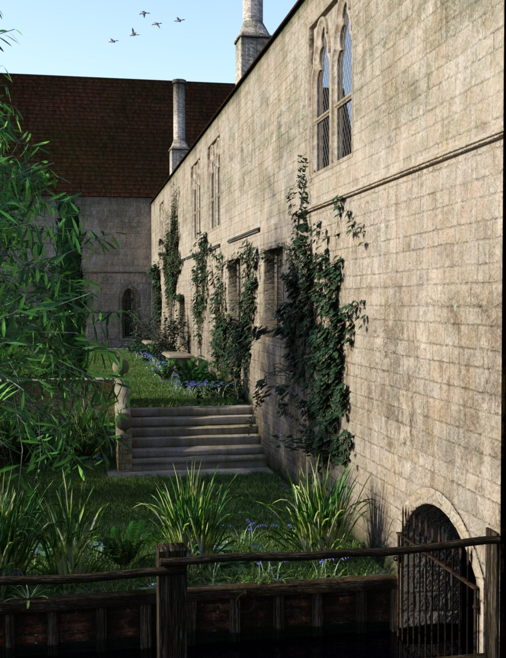 Medieval Hall and Garden by: TangoAlpha, 3D Models by Daz 3D