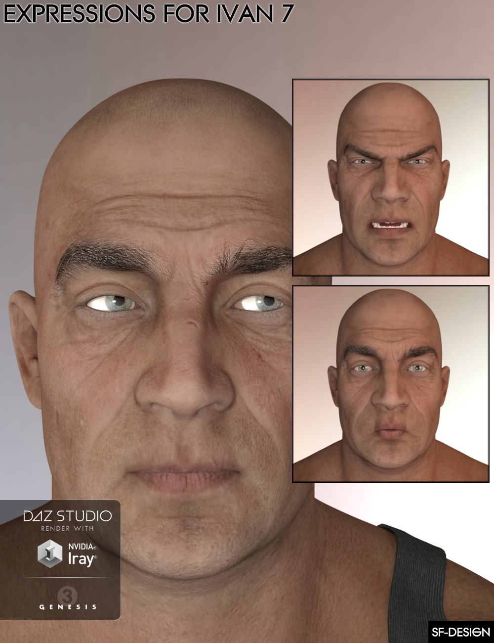 Expressions for Ivan 7 and Genesis 3 Male(s) by: SF-Design, 3D Models by Daz 3D