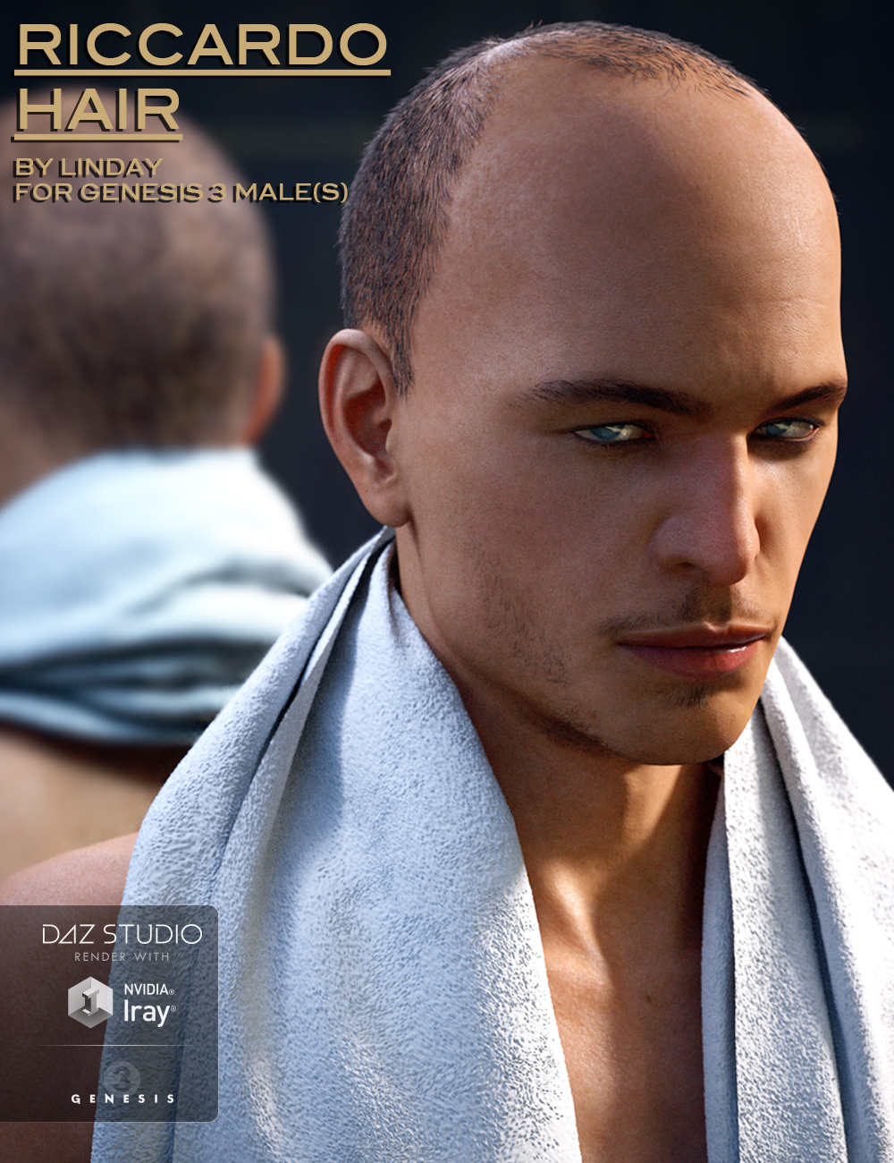 Riccardo Hair for Genesis 3 Male(s) by: Linday, 3D Models by Daz 3D