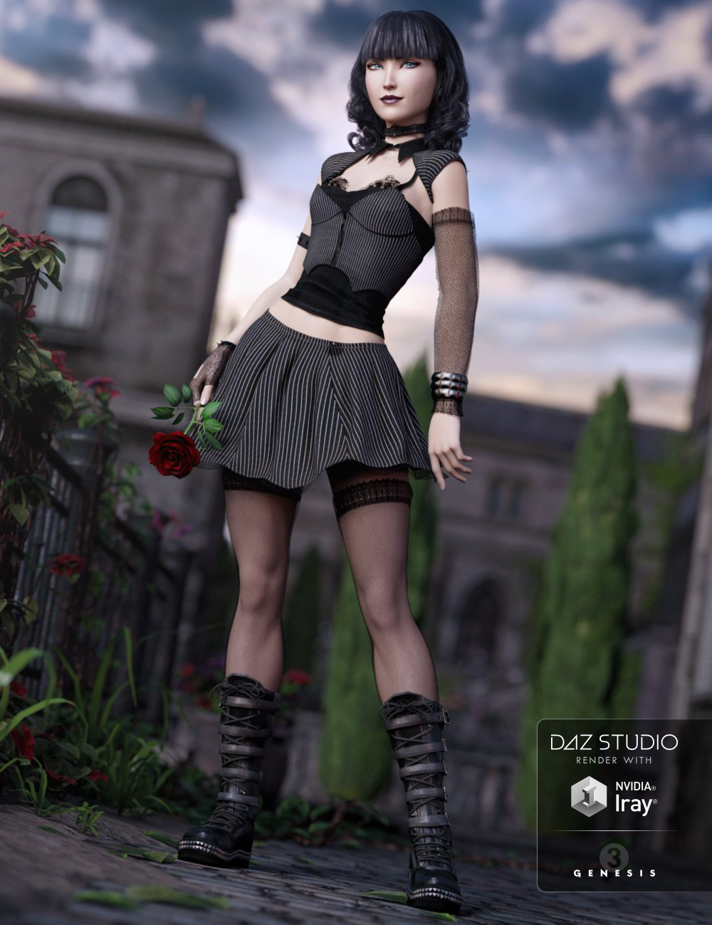 Goth Girl Outfit for Genesis 3 Female(s) by: Arien, 3D Models by Daz 3D