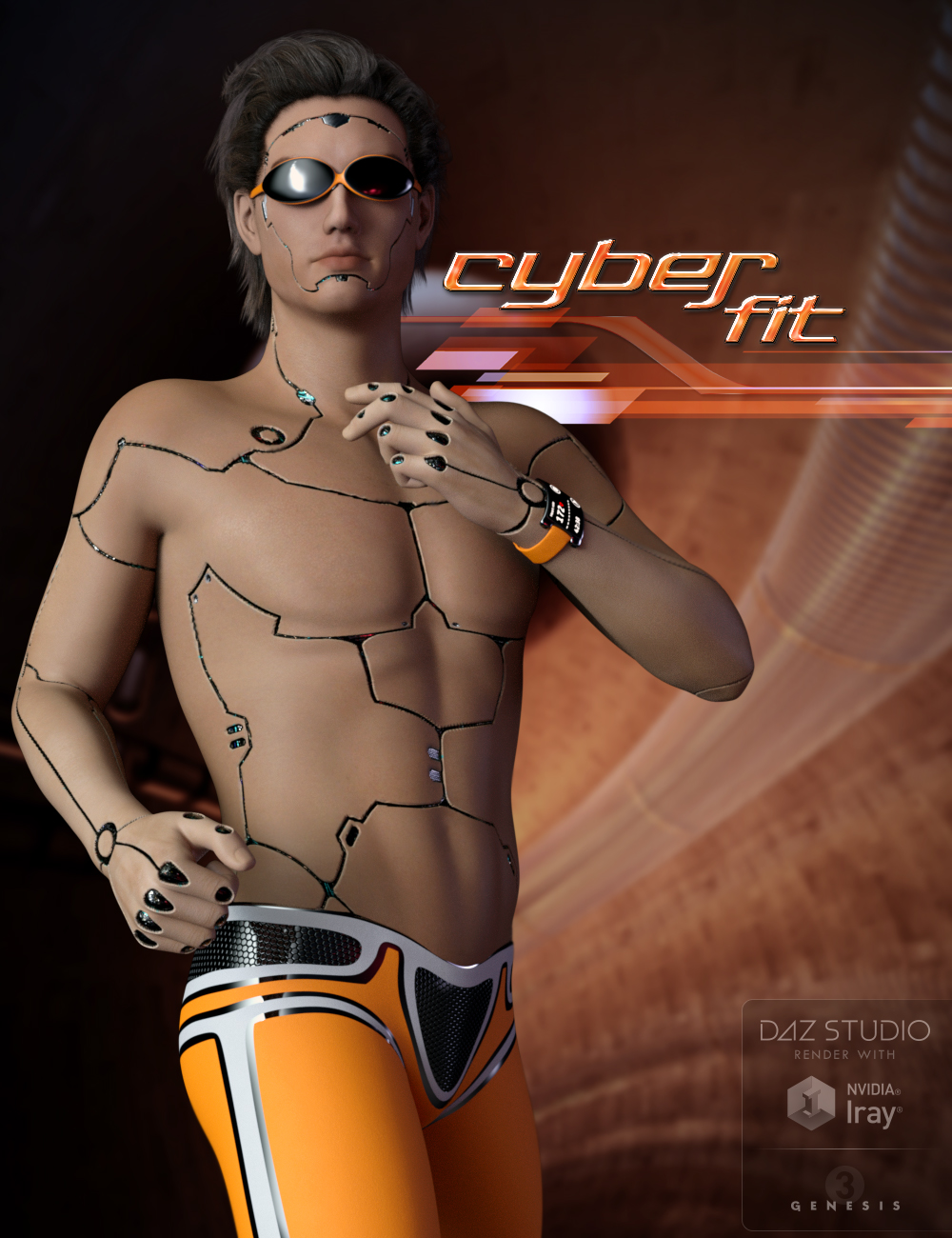 Cyber Fit Outfit for Genesis 3 Male(s) by: midnight_stories, 3D Models by Daz 3D