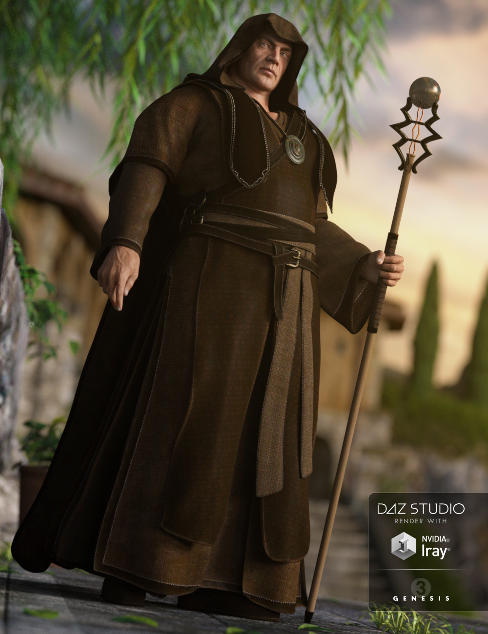 Fantasy Friar Outfit for Genesis 3 Male(s) by: Anna BenjaminBarbara Brundon, 3D Models by Daz 3D