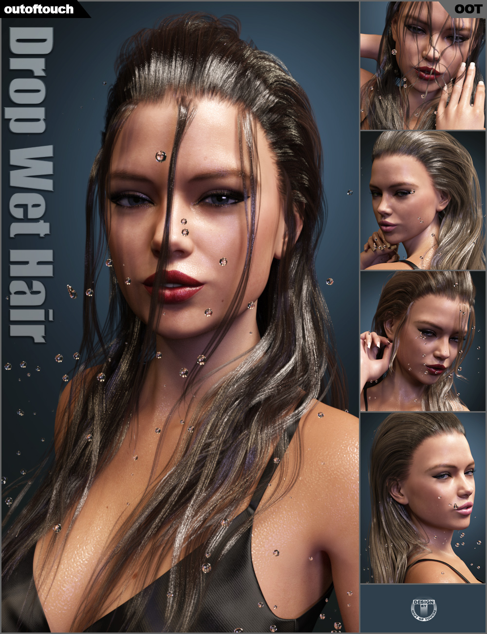 Drop Wet Hair for Genesis 3 Female(s) by: outoftouch, 3D Models by Daz 3D