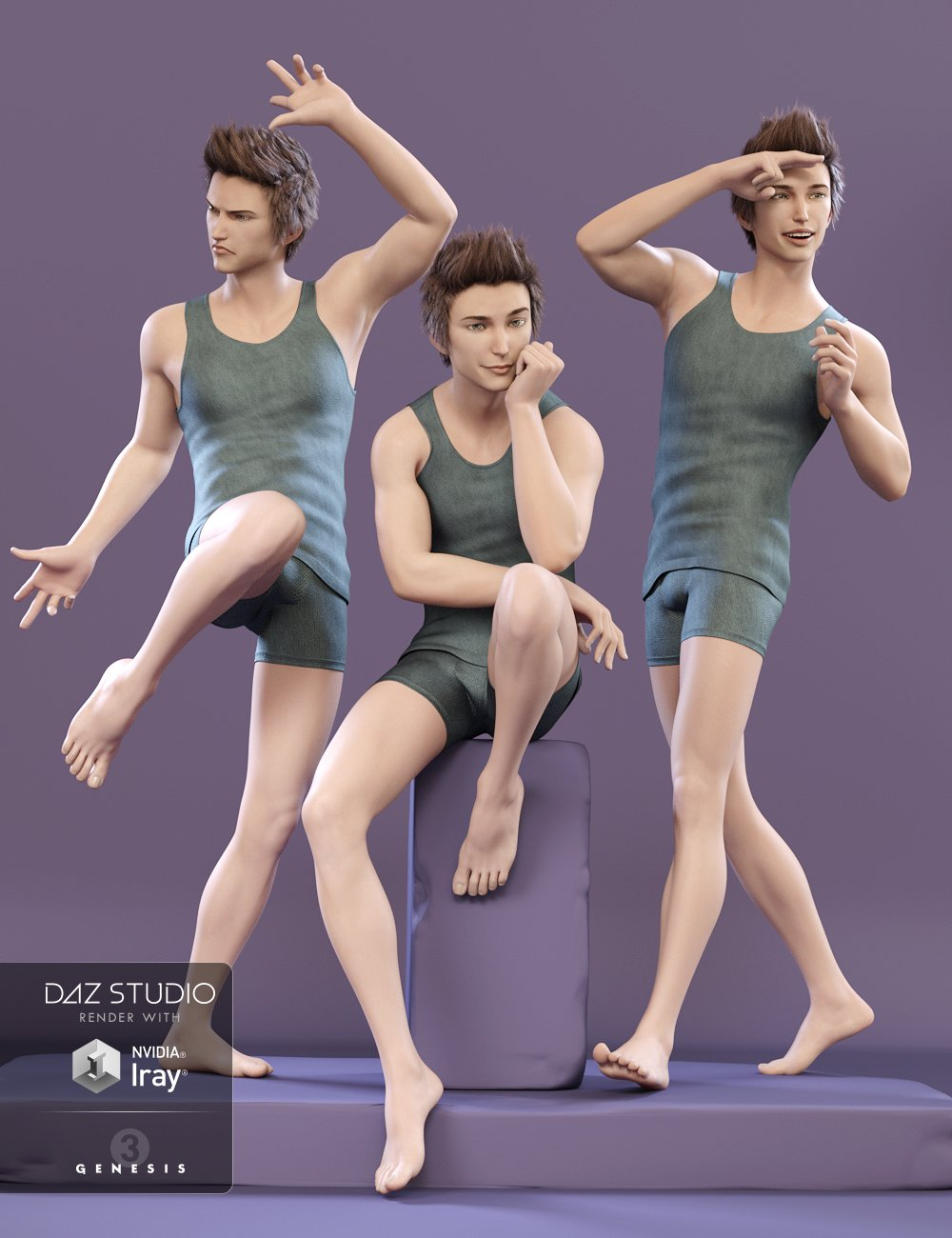 Capsces Poses and Expressions for Kenji 7 by: Capsces Digital Ink, 3D Models by Daz 3D
