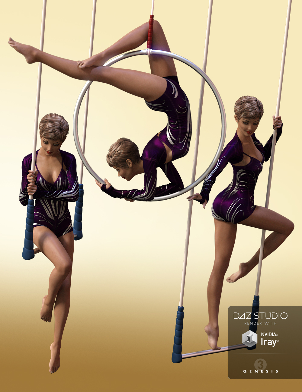 Aerial Suspended Instant Poses for Genesis 3 Female(s) by: Val3dart, 3D Models by Daz 3D