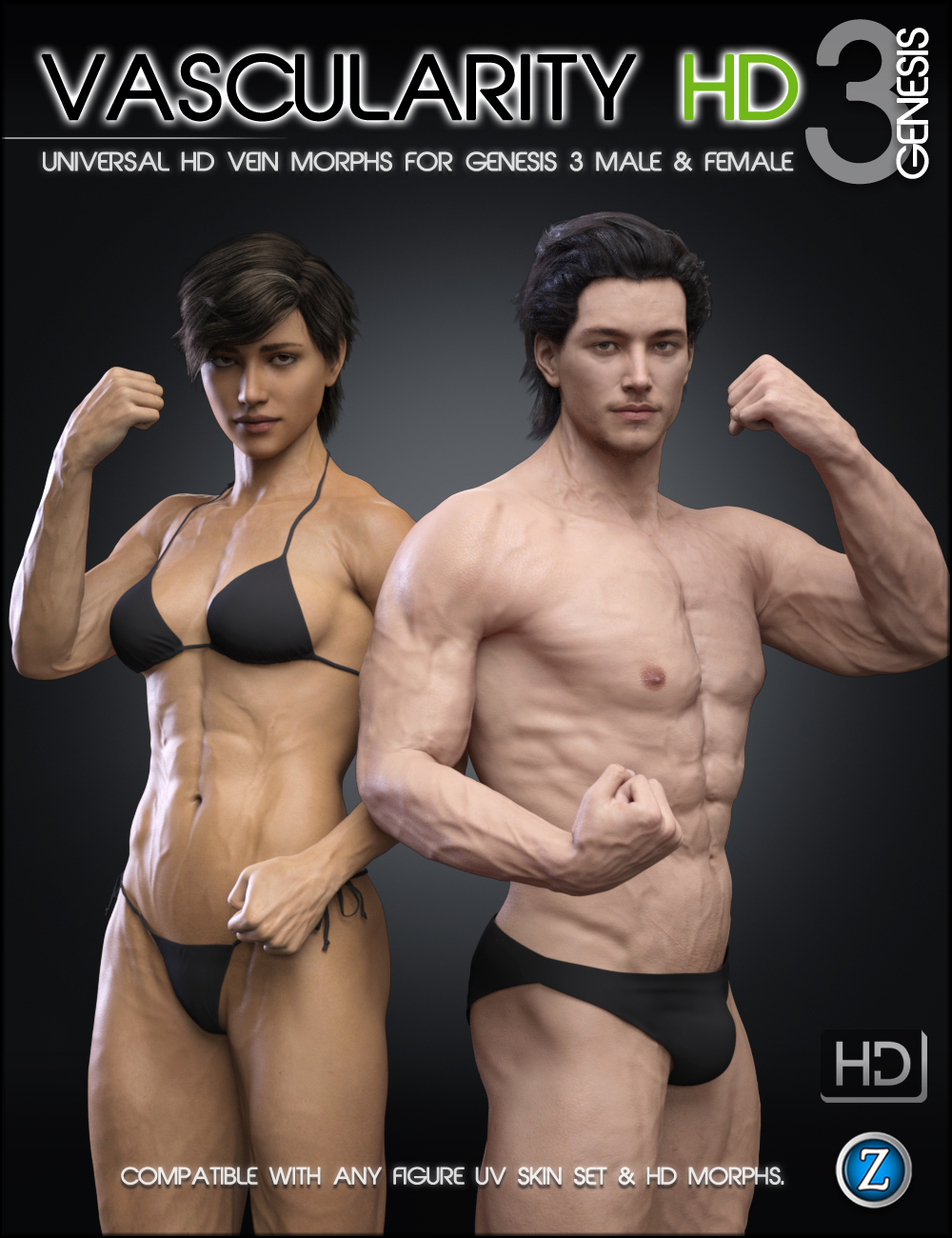 Vascularity HD for Genesis 3 Female(s) and Genesis 3 Male(s) by: Zev0, 3D Models by Daz 3D