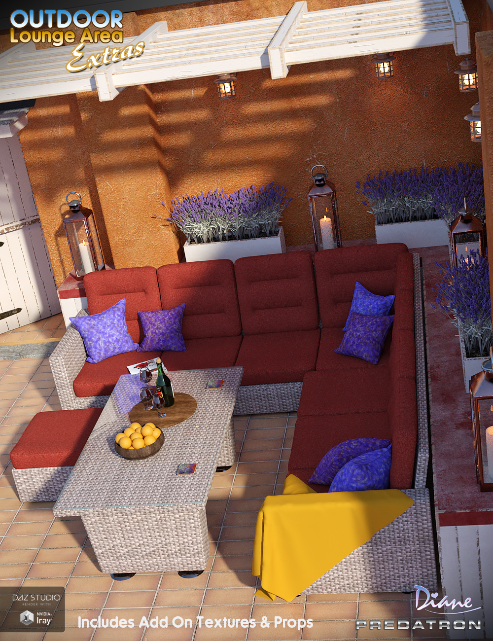 Outdoor Lounge Area Extras by: DianePredatron, 3D Models by Daz 3D