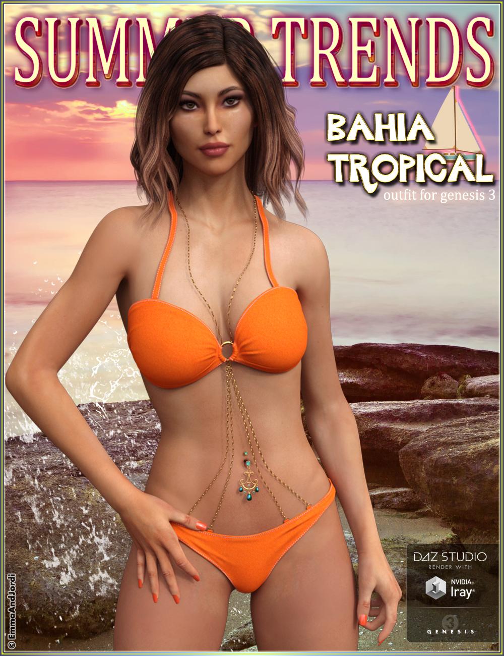 Bahia Tropical Outfit for Genesis 3 Female(s) by: EmmaAndJordi, 3D Models by Daz 3D