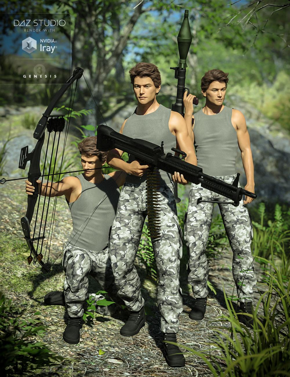 Mercenary Soul Poses for Genesis 3 Male(s) by: Val3dart, 3D Models by Daz 3D