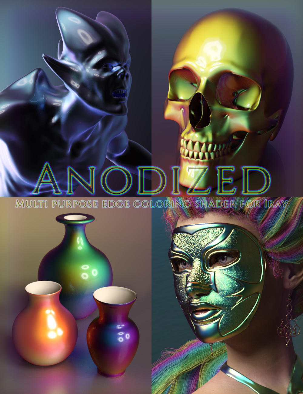 Anodized - Custom Shader and Preset Suite for Iray by: DimensionTheory, 3D Models by Daz 3D