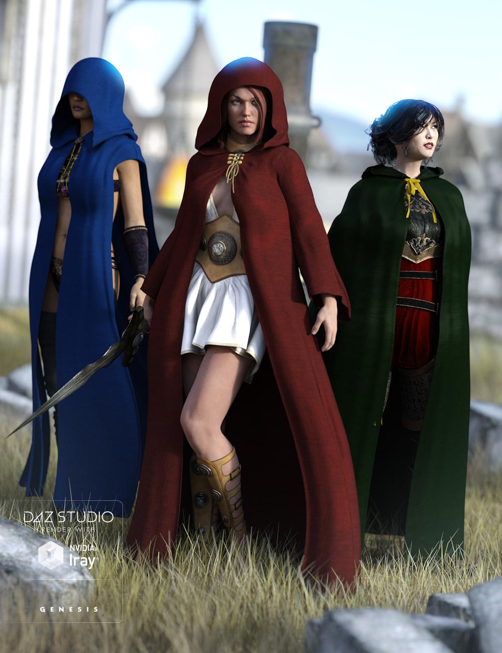 Medieval Cloaks for Genesis 3 Female(s) by: JGreenleesPoisenedLily, 3D Models by Daz 3D