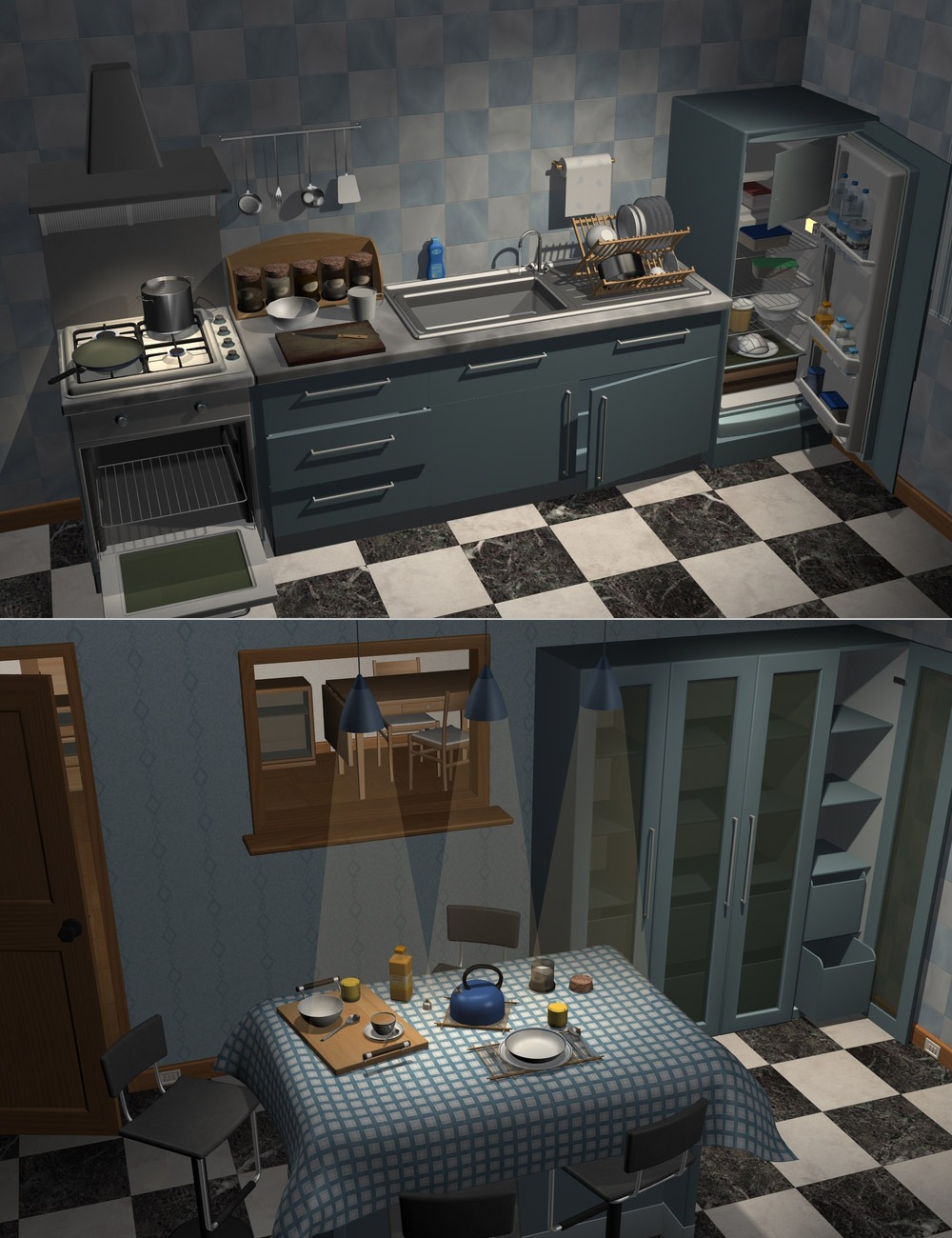 Home One Kitchen by: maclean, 3D Models by Daz 3D