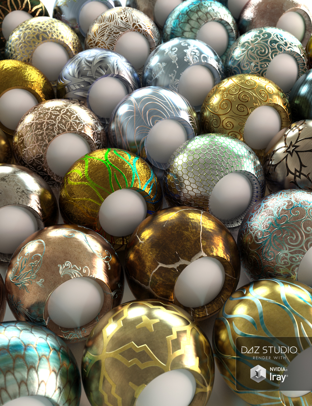 Elaborate Metals Iray Shaders by: JGreenlees, 3D Models by Daz 3D