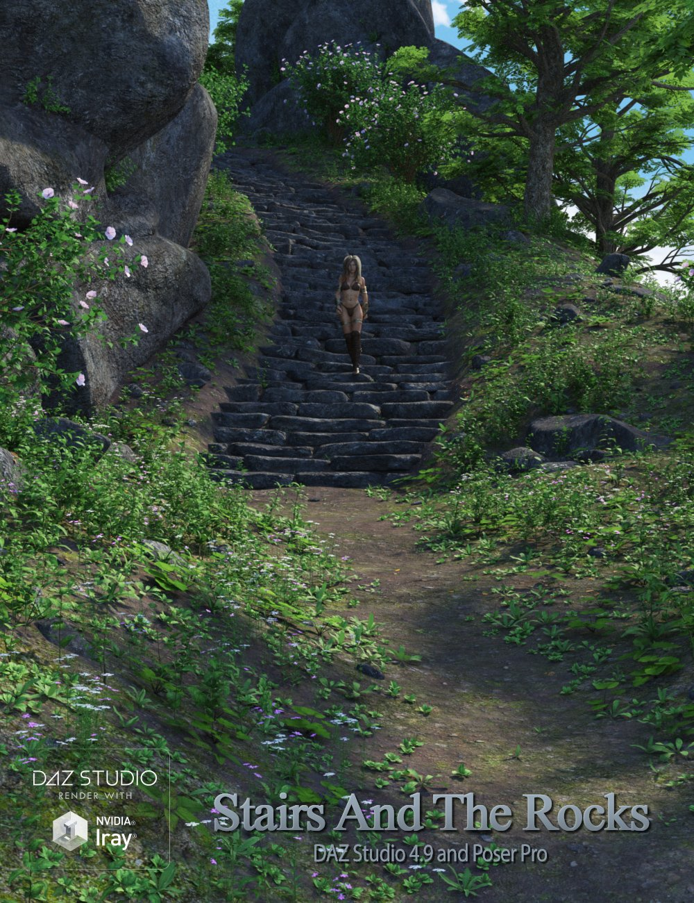 Stairs and the Rocks by: Andrey Pestryakov, 3D Models by Daz 3D