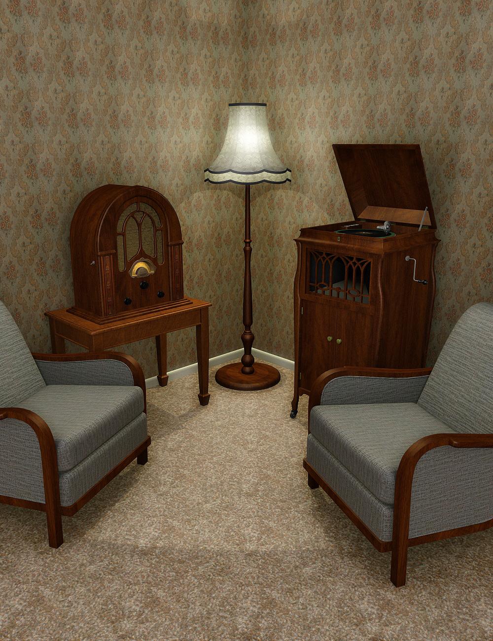 Vintage Lounge Furniture by: hypnagogia, 3D Models by Daz 3D